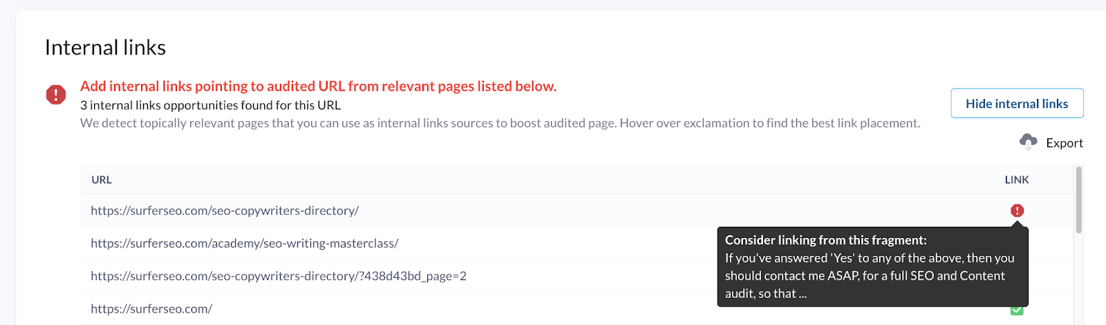 Internal links in audit - best placement for internal link