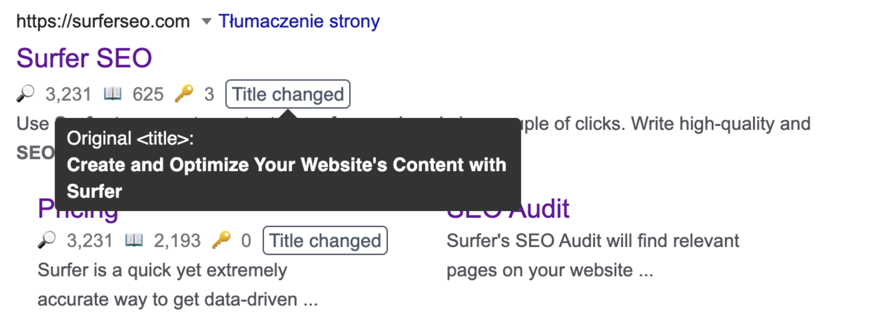 changed title tags in keyword surfer