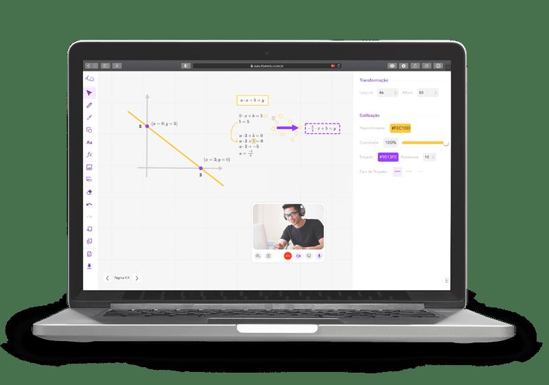 Computador mostrando a Sala de Aula Virtual da Liber ilustrando algumas de suas ferramentas como: desenhar gráficos, usar formas geométricas, lápis, textos, equações, videochamada e muito mais. Tudo personalizado.