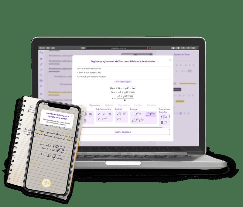 Computador mostrando a Sala de Aula Online da Liber ilustrando a ferramenta de escanear, digitalizar e ditar equações e textos. Com uma foto, é possível passar um exercícios, questão, fórmula de matemática ou física para o quadro branco virtual durante a aula de reforço escolar
