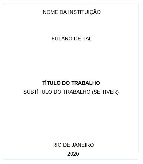 Quadro branco com bordas azuis, ilustrando a folha de capa com suas informações e exemplificando as regras de como elaborar uma Capa de acordo com à ABNT (a imagem contém texto que pode ser verbalmente reproduzido, sem nenhuma ilustração ou foto).