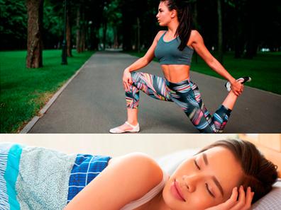 Na parte superior da imagem, uma jovem (mulher) está se alongando em uma parque com um top cinza e uma calça de academia colorida. Ela está se preparando para fazer exercícios ao ar livre. Já na parte inferior da imagem, a mesma jovem está dormindo e coberta com um cobertor azul estampado.