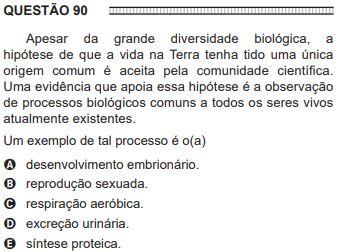 Exemplo de uma questão número 90 de Biologia do ENEM de 2016, com uma pergunta e cinco opções de respostas. A imagem é passível de leitura oral.