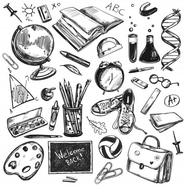 Experimentar meios artísticos e formas mais lúdicas de estudar, ajuda na descoberta do que é possível aprender fora da sala de aula. Essa ilustração tem um fundo branco que mostra diversos objetos na cor preta. Entre eles, caderno, lápis, bola, óculos, bolsa, sapato, folhas, globo terrestre, relógio, tubos de ensaio e régua.