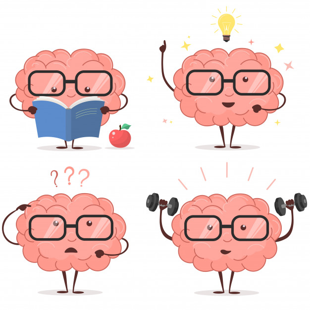 Descobrir novos modos de estudar fora da sala de aula, ajuda a exercitar o cérebro. Essa ilustração tem um fundo branco e quatro cérebros rosas usando óculos preto de grau, dois na parte superior da imagem e dois na inferior. Cada um está executando uma ação, entre elas a de pensar, ter ideias, se exercitar e ler.