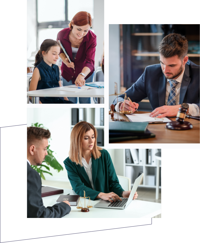 Three images of employees working together.
