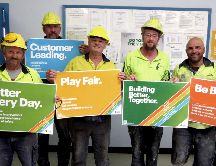 Construction team displaying workplace information.