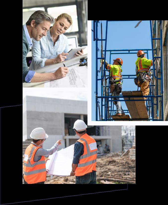 Tre billeder af byggeprocessen, herunder design, planlægning og bygning.