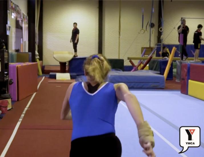 Gymnast running and training