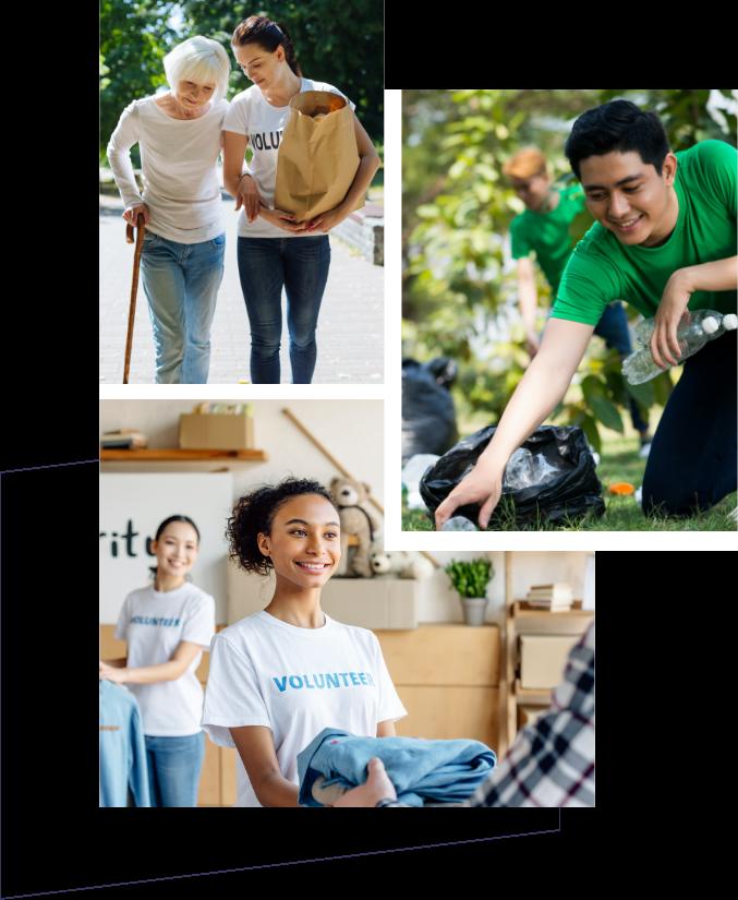 Ikke for profit frivillige og arbejdstagere collage