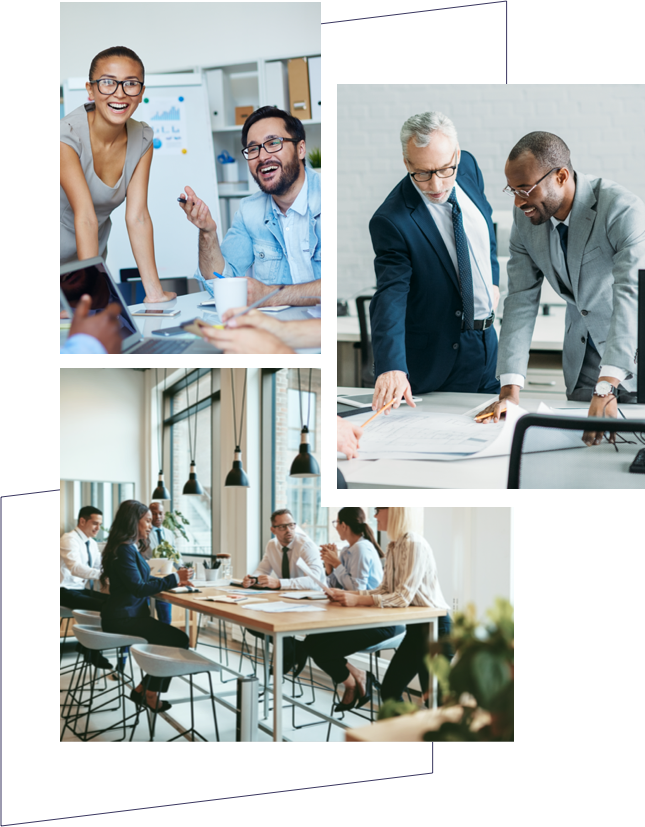 Three images of HR and Talent teams working