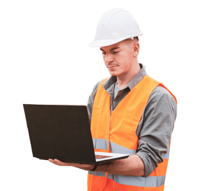 Construction or trade worker using laptop with transparent background