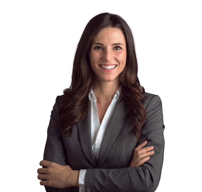 Business woman in suit smiling with transparent background