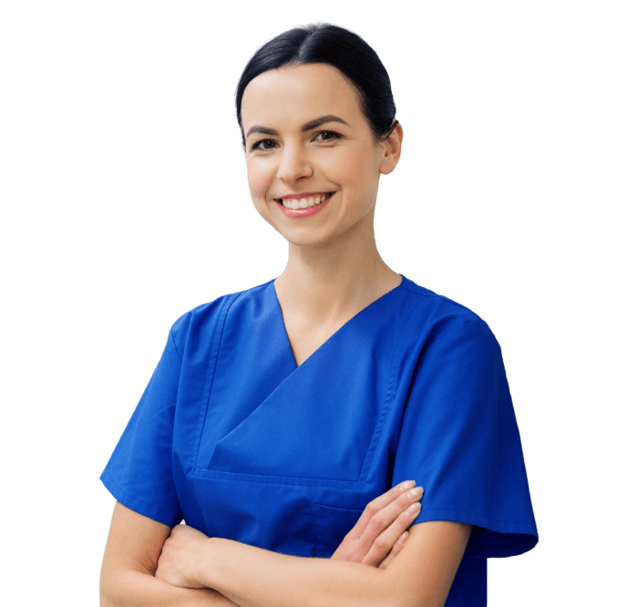 Health care professional in blue scrubs with transparent background