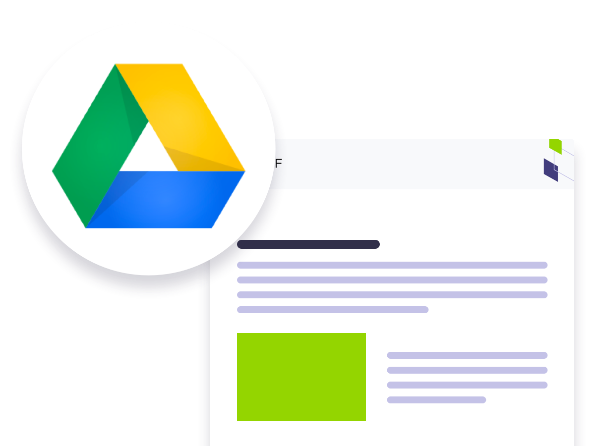Google drive logo over a generic image of Xref branded document.