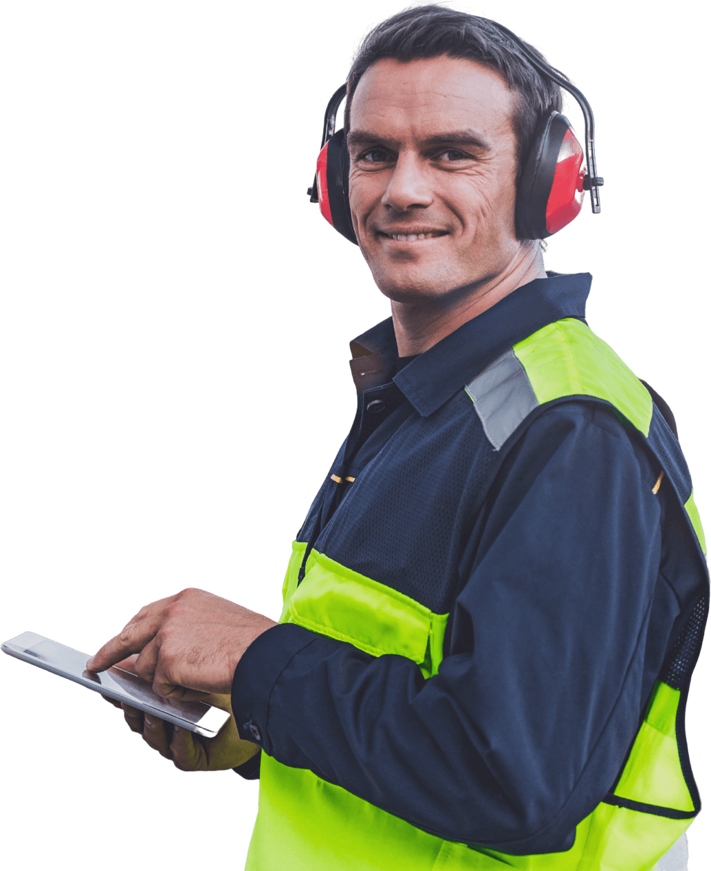 Ground worker with ear muffs on looking at information on a device on a transparent background.