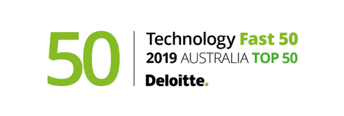 Deloitte Tech fast 50 awards logo 2019, green and black text on white