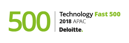 Deloitte Tech fast 50 awards logo 2018, green and black text on white