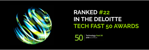 Deloitte Tech fast 50 awards logo, green and white text on black