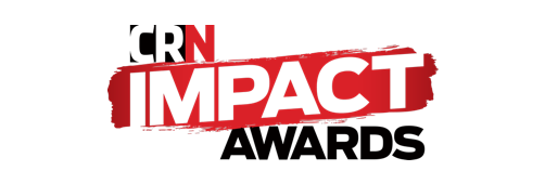 CRN impact awards logo, black and red text on white