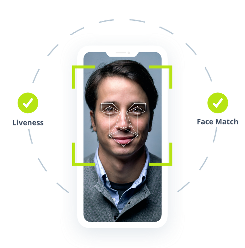 Man with biometric face matching, mobile device