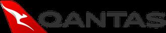 Qantas logo, white kangaroo on red, grey text on white