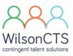 WilsonCTS logo, three people, green, orange, blue