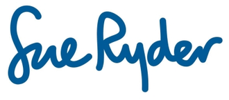Sue Ryder logo, blue text on white