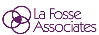 La Fossee Associates logo, purple circles and text on white