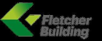 Fletcher building logo, green arrow, grey text on white