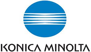 Konica Minolta logo, blue circle with white lines, black text on white