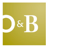 Oliver and Bonacini logo, gold square O & B white