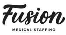 Fusion medical staffing logo, black text on white