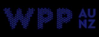 WPP AU NZ logo, blue text on white