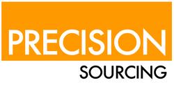 Precision Sourcing logo, white text on orange, black text on white