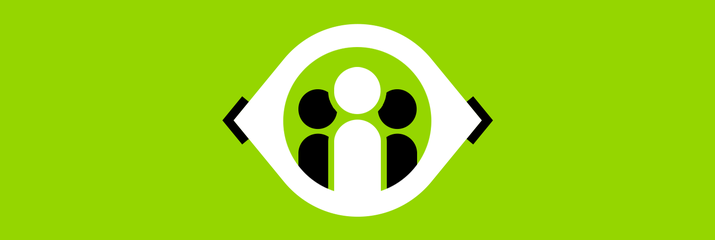 Black and white candidate icon on green