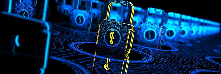 Illustration with blue padlocks and one highlighted padlock in yellow