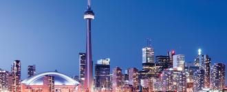 Wide shot of city skyline
