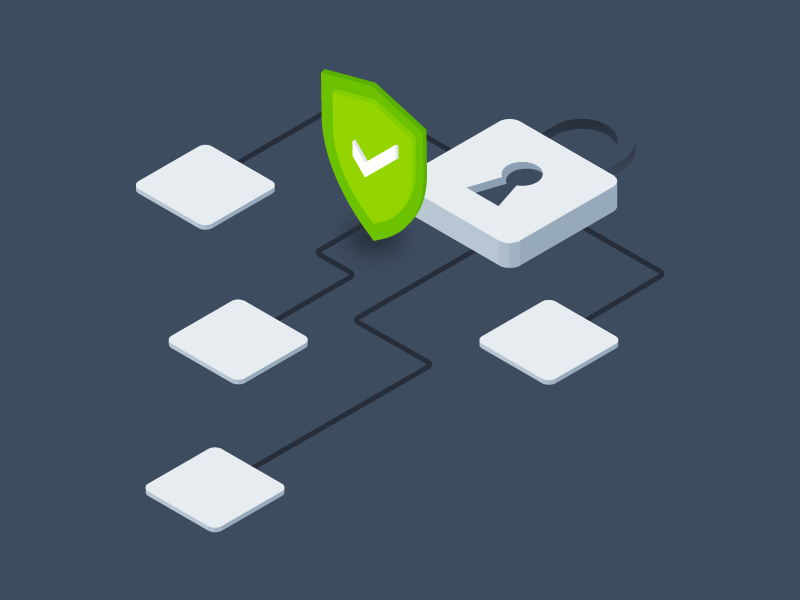 Padlock and security illustration, green shield on grey