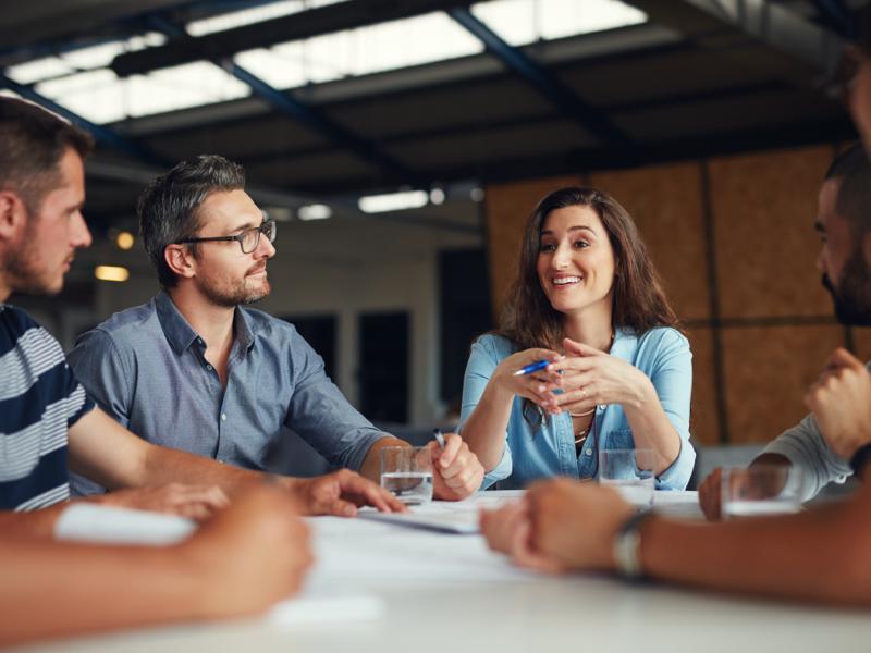 People sitting around meeting table