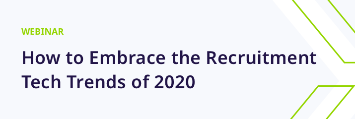 webinar, How to embrace the recruitment tech trends of 2020, purple and green text, light grey background