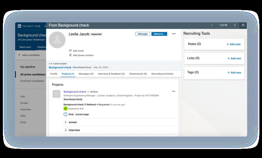 Monitor progress in Linkedin integration
