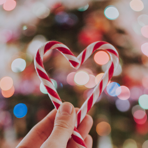 Person holding candy canes in the shape of a heart
