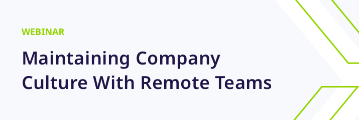 webinar, maintaining company culture with remote teams, purple and green text, light grey background