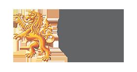 Lion logo, golden lion, grey text on white