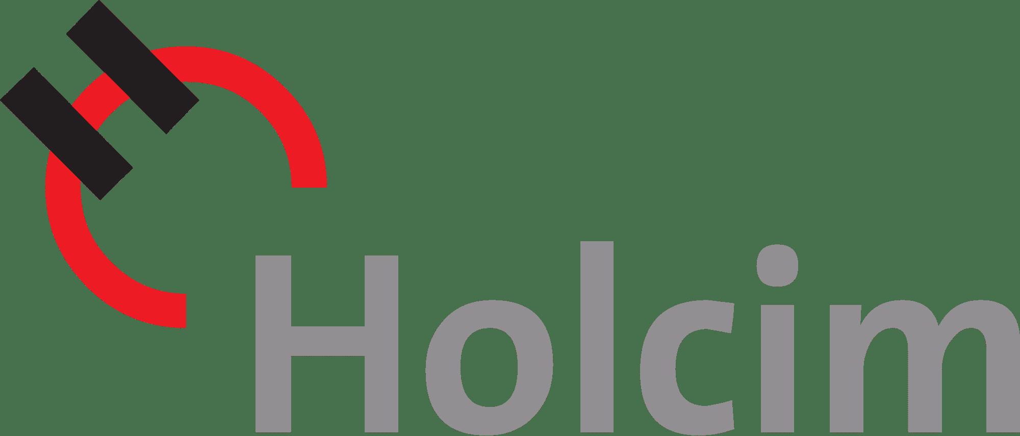 Holcims logo, black, red, grey