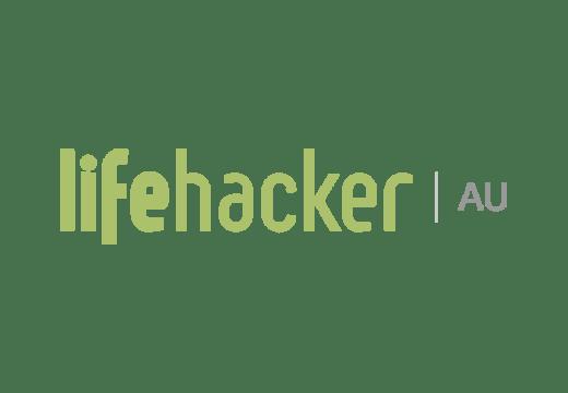 Lifehacker au logo, green and grey text on white