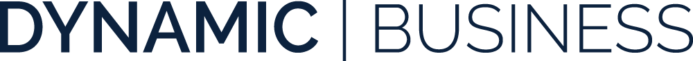 Dynamic business logo, navy text on white