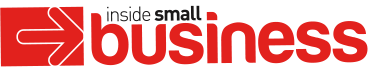 Inside small business logo, red and black text on white