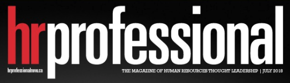 Hr Professional magazine logo, red and white text on black